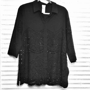 CHICO'S-SIZE 12-Blouse w/ lacing & peekaboo detail